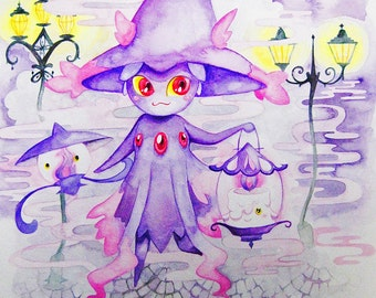 Mismagius Litwick and Lampent Ghost Pokemon Watercolor Fanart