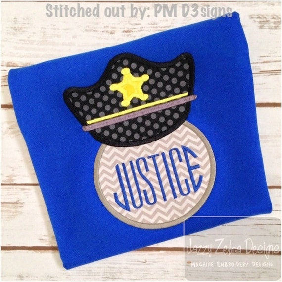Police Hat Monogram Frame Applique embroidery Design - police Applique Design - police officer Appliqué Design - monogram frame Applique