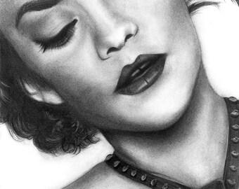 Marion Cotillard Portrait - Fine Art Drawing Print, Fine Art Portrait, Actress