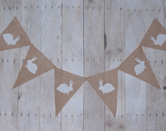 Shabby chic Easter burlap banner, classic bunny pennant banner, bunny banner, Easter photography prop, Easter banner, Easter party banner