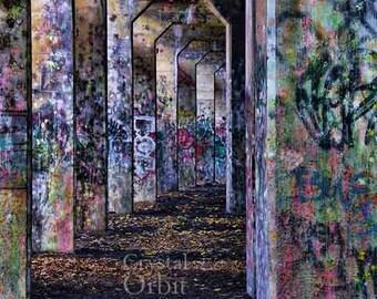 Graffiti Print, Urban Decor, Graffiti Art, Archway, Abandoned Building, Purple, Pink, Blue, Home Decor, Colorful Wall Art, Canvas Prints