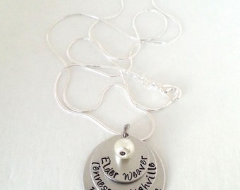 LDS Mormon Missionary Mom Personalized Hand Stamped Necklace with Glass Bead