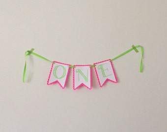 One - High Chair Banner - 1st Birthday Banner - Hot Pink & Lime Green Party - Girl 1st Birthday