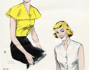 50s ROCKABILLY Blouse Pattern Butterick 6135 Romantic Cape or Stand Up Collar Easy To Sew Bust 34 Vintage Sewing Pattern FACTORY FOLDED