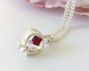 Pomegranate necklace. Silver Chain. Jewish pendant. Jewelry for Women.