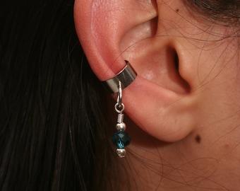 Blue Bead Ear Cuff
