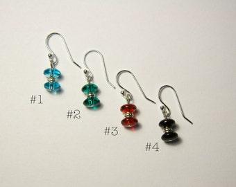 Blue, blue-green, red, or black drop earrings