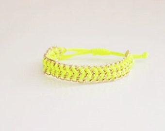 Neon Yellow Ribbon Bracelet