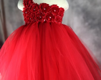 Red Flower girl dress Tutu dress Wedding dress Birthday dress Newborn 2T to 8T