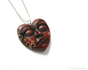 Red heart face pendant, unique hand sculpted original sculpture. A romantic art jewelry, great gift idea for her on Valentine's day!