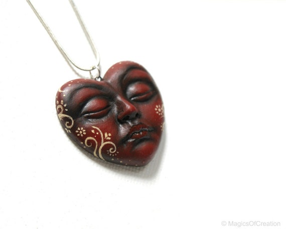 Love Is but a Dream, OOAK heart sculpture pendant, original art jewelry
