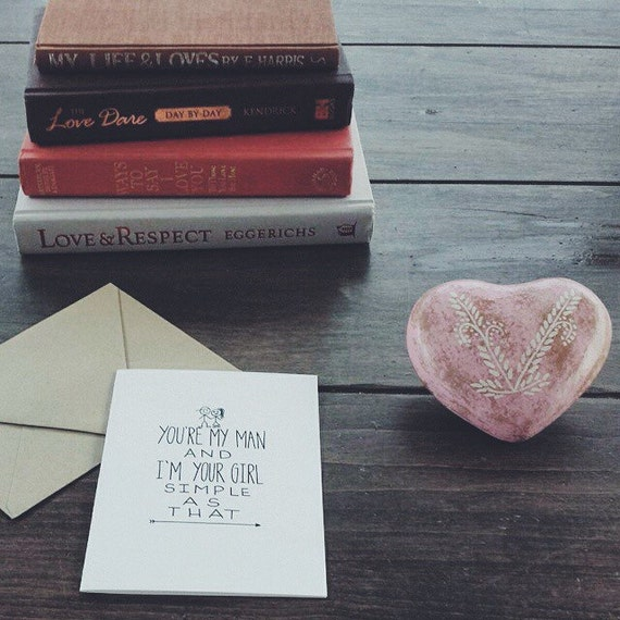 Cute and sweet valentine's day card, anniversary card, you're my man and I'm your girl, the cutest I love you card