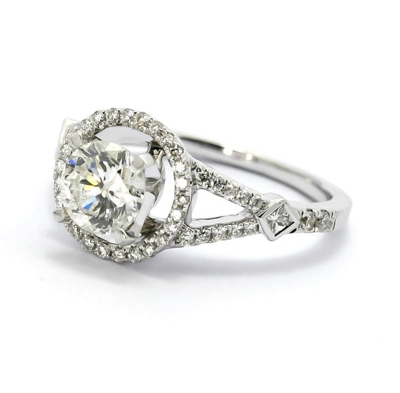 moissanite halo engagement ring unique with 1 25