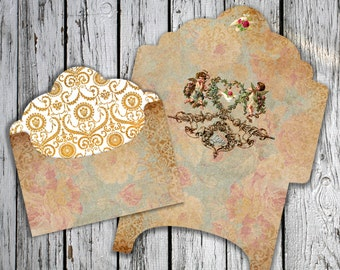 FLY LOVE - Printable Download Digital Collage Sheet Envelope with print on reverse side - Print and Cut