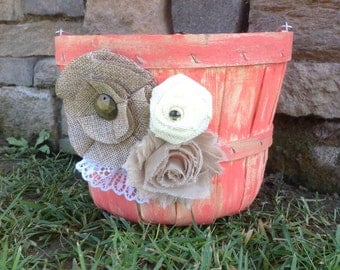 Coral flower girl basket / lace / rustic / distressed / burlap / wedding / ceremony / bushel basket