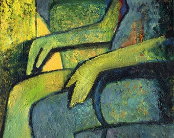 Contemporary art - Abstract - FIGURE - digital download - Digital art print from original paintings - Yellow - Green - by Petr Ldin