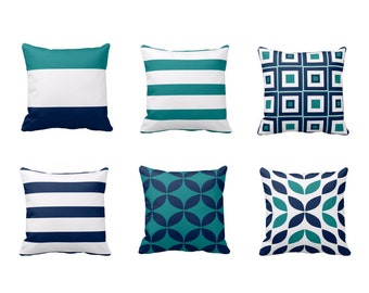 Throw Pillow Covers Teal Pillow Covers Navy Pillow Covers Home Decor Decorative Pillow Cover Accent Pillow Cover Cushion Cover Pillow Cover