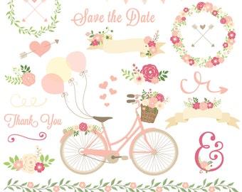 "Wedding Invitation Clipart  ""WEDDING CLIPART"" Floral Bicycle,Floral Wreath,Wedding Invitation,Arrows,Flower Basket,EPS Vector,Commercial Use"