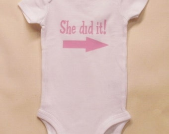 She did it! Twin Onesies, Twins Baby gifts, Twin Babies, Baby Twins, Unique Baby Onesies, Funny Baby Onsies