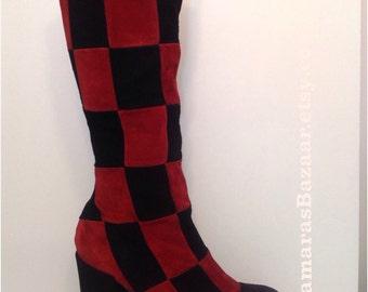 Vintage Patchwork Platform Boots Sale!!