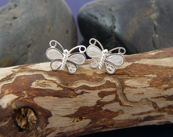 Beautiful handmade silver filigree butterflies earrings, small stud earrings