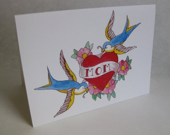 Mother's Day Card - Mom Tattoo / Heart / Birds / Flowers - Handmade and printed from original ink and gouache illustration