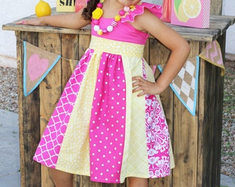 "Refreshing ""Lemonade Stand"" Stripwork Dress - Hot Pink, White & Yellow - Ruffle Dress - Birthday - Party - Holiday - Celebration - Girls"