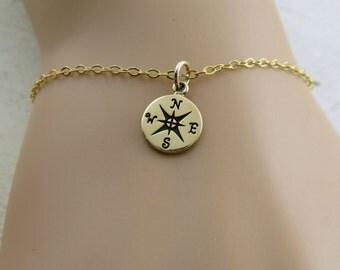 Compass bracelet, compass charm bracelet, graduation gift, travel gift, friendship bracelet, travel bracelet, wanderlust, world traveler