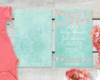 Baby Shower Invitations - PRINTED / Polka Dots and Coral Pink Bunting Baby Shower Invitation / Distressed Mint Green Polkadots