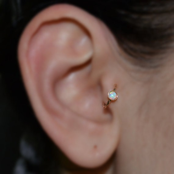 Gold Tragus Earring 3mm White Opal - Rook Earring - Nose Ring Stud - Cartilage Earring - Daith Piercing - Helix Jewelry - Septum Piercing