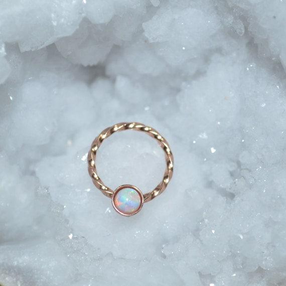 Gold Nipple Ring 18 gauge - 3mm White Opal Nipple Piercing - Septum Ring 18g - Septum Piercing - Conch Earring - Cartilage Earring