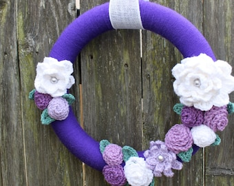 14 Inch Spring Wreath Purple - Lavender - Orchid - White Ready to Ship