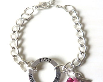 Red Hope Love Cure Awareness Bracelet Heart Disease HIV AIDS Eb Dui Dare YOU Choose Bracelet Length