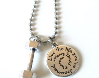 Live the Life You've Dreamed Workout Weight Lifting Bodybuilding Dumbbell Charm Necklace YOU Choose Necklace Length and Ball Chain Size