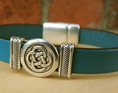 Leather Bracelet, Silver Celtic Knot, Teal European Leather, Silver Magnetic Clasp, Gifts for Men, Gifts for Women, Leather Jewelry