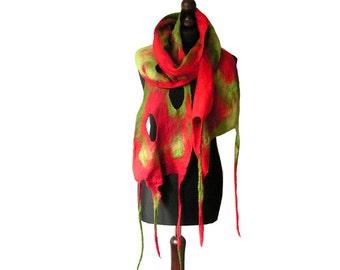 Felted scarf felt scarf felted collar red green felt scarf boho spring women's gift OOAK