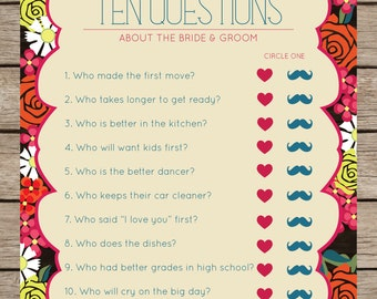 Fiesta Floral Ten Questions Bridal Shower & Wedding Game