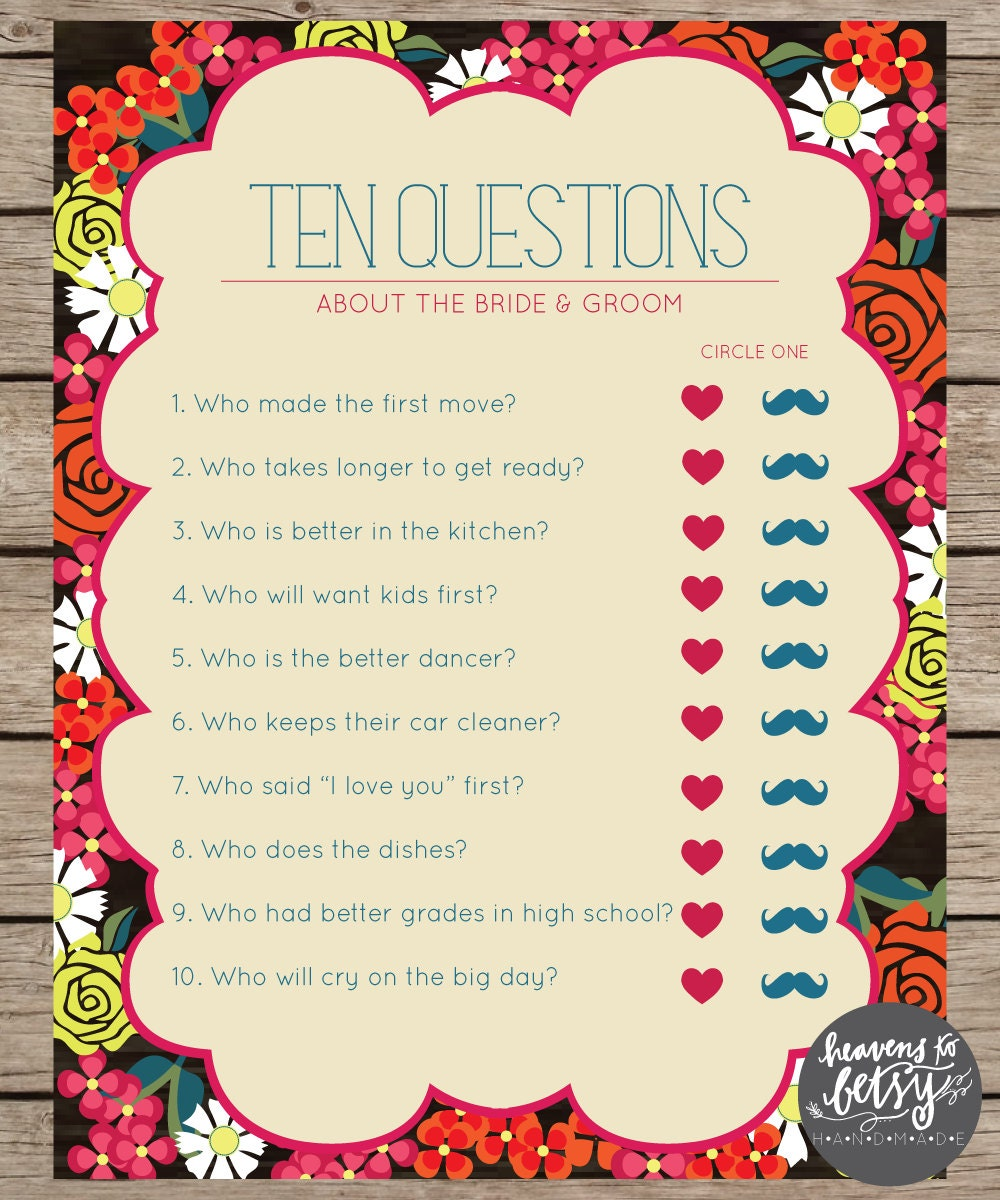 Wedding Games For Guests: Fiesta Floral Ten Questions Bridal Shower & Wedding Game