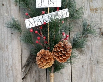 Just Married Pine Bough Wedding Centerpiece, Rustic Winter Wedding Decor, Pine Bough Table Arrangement, Holiday Decor, Christmas Centerpiece