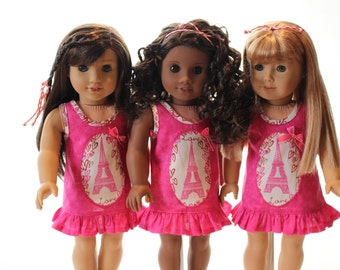 American Girl Doll Clothes - Dress: Raspberry pink with love, hearts, and Eiffel tower motifs