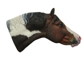 American Paint Horse Ornament_sculpture, resin, pony, equine, equestrian, bay pinto