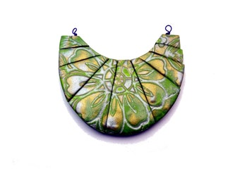 Green, Gold, and Silver Flower Beads for Statement Bib Necklace