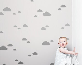 3 Size Cloud Wall Decal / Cloud Wall Sticker / Cloud Pattern Wall Decal / 42 clouds sticker / Kids Room decoration / Nursery Decal / gift