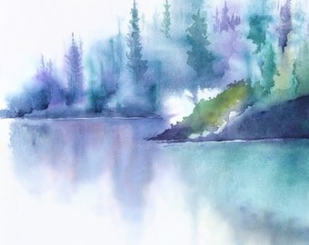 Turquoise Wall Art Watercolor Print, Mountain Landscape, Mountain Decor, Turquoise Watercolor Painting, Relaxing Print Art, Lake Print,8x10+