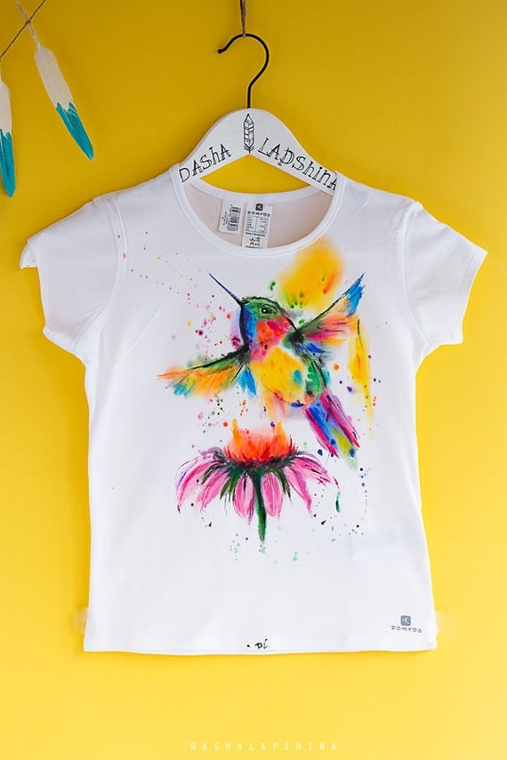 Hand painted baby toddler child t shirt with humming bird for How to paint on t shirt