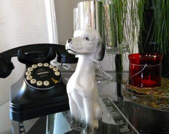 White and Black Ceramic Dog Statue Mid Century
