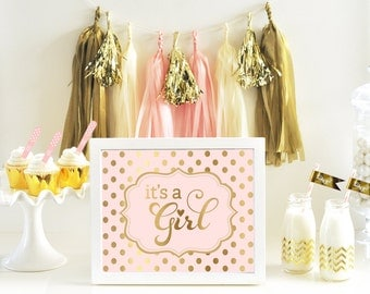 Its a Girl Sign - Baby Shower Signage - Pink and Gold Baby Shower Sign Polka Dot Girl Baby Shower Decor Ideas (EB3058FB) - Printed SIGN ONLY