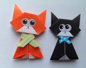 Cat Magnet Set, Origami Cat Magnet,  Birthday Cat Item, Magnet Origami Cats, Black Cat Magnet, Catlovers, Kitten