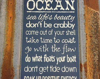 Wisdom from the Ocean - Handmade Wood Sign