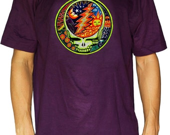 Grateful Dead T-Shirt - psychedelic LSD Hofmann Bicycle Day blacklight embroidery goa garcia shirt tshirt gratefuldead skull moon sun hippie